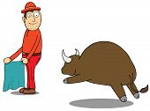 image of adversity humor  - Illustration of a man with a wild buffalo - JPG