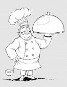 image of freehand drawing  - Illustration mustachioed chef with signature dishes.  Formed as a freehand drawing as a sketch.  On a gray background. - JPG