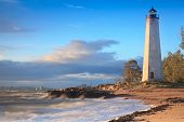 stock photo of mile  - Sunset View of the lighthouse at Five Mile Point - New Haven . CT