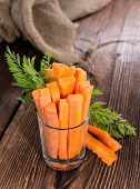 picture of crudites  - Fresh made Carrot Sticks in a glass (diet food)