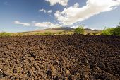 Lava field, Haleakala volcano in background, Maui, Hawaii