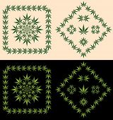 stock photo of hallucinogens  - A set of decorative borders and design icons derived from pot leaves - JPG