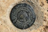 foto of benchmarking  - USGS benchmark at Cape Royal on the north rim of the Grand Canyon Arizona - JPG
