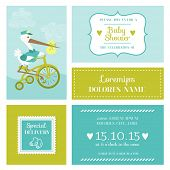 Baby Shower or Arrival Card with Stork - in vector