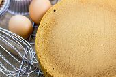 image of sponge-cake  - Sponge cake and Eggs with cake equipment - JPG