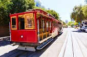 image of tram  - San francisco Hyde Street Cable Car Tram of the Powell - JPG