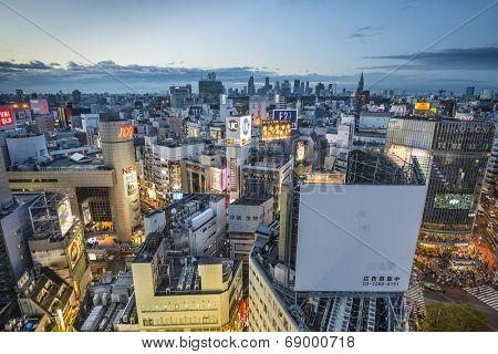 TOKYO, JAPAN - MARCH 30, 2014: Aerial view of Shibuya Ward. Shibuya is one of Tokyo's major nightlife and fashion centers.