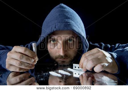 Depressed Sick Looking Cocaine Addict Man Sniffing Coke