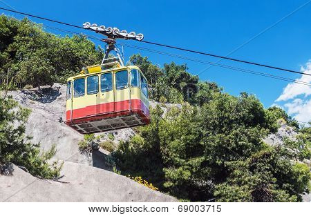 Ropeway Leading Into The Mountains