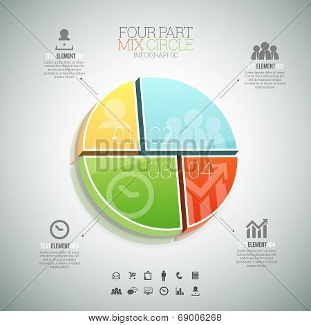 Four Part Mix Circle Infographic
