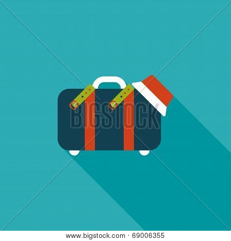 Vintage Travel Suitcases, Flat Icon With Long Shadow