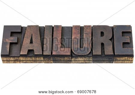 failure - isolated words in vintage letterpress wood type with ink patina