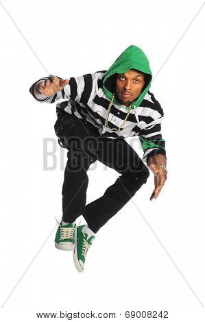 African American dancer jumping isolated over white background