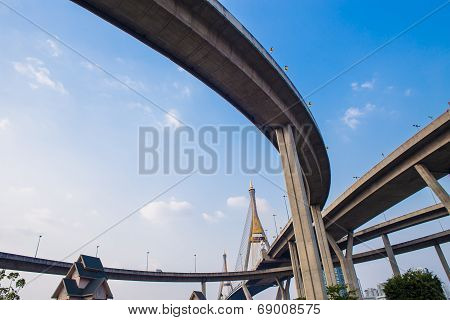 Concrete Highway Overpass Bhumibol Bridge In Thailand