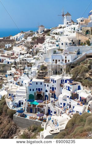 Village Oia Of Cyclades Island Santorini Greece
