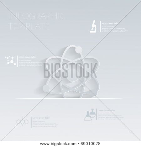 Vector Illustration, The Atom, Molecule. Template Graphic Or Website Layout