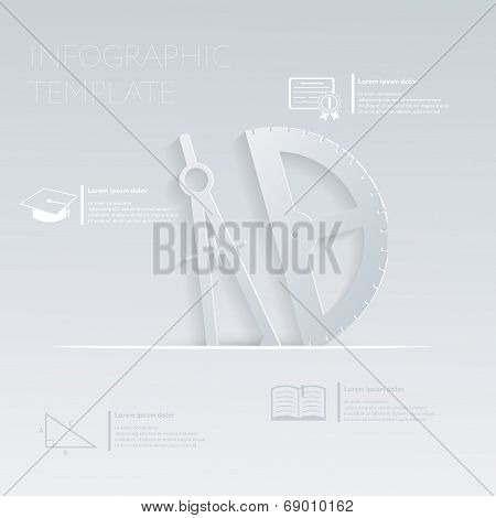 Vector Illustration, Compass And Protractor. Template Graphic Or Website Layout