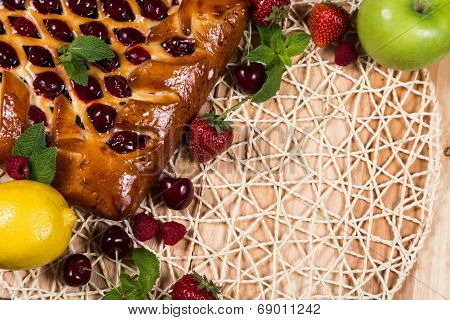 Homemade Pie With Berrys On Basketry Background