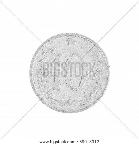 Ten czech crown coin.