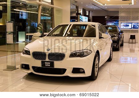 Bmw 520D Car On Display At The Siam Paragon Mall In Bangkok, Thailand.
