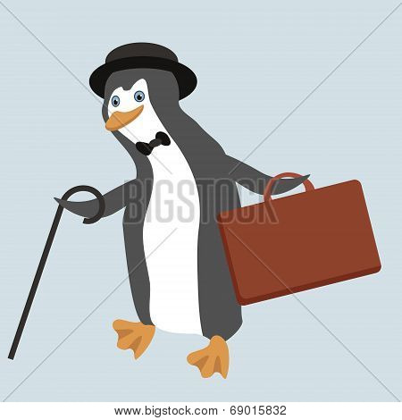 Funny Penguin Character Wearing Old Fashioned Bowler Hat With Suitcase And Walking Stick