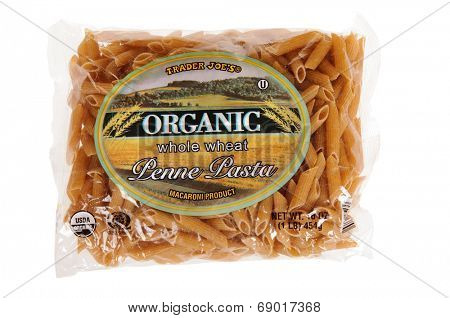 Hayward, CA - July 24, 2014: 1 lb of Trader Joe's Organic whole Wheat Penne Pasta