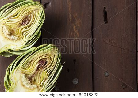 Artichoke Cut In Half With Copy Space