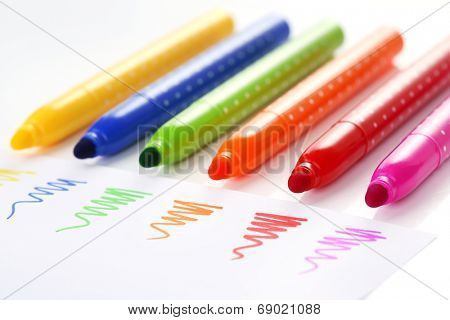 Bright markers isolated on white
