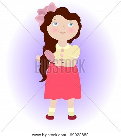 Cartoon Girl With Comb Illustrating Virgo Zodiac Sign. Objects Grouped And Named In English. No Mesh