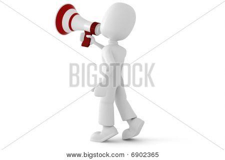 3d man speaking into a big megaphone