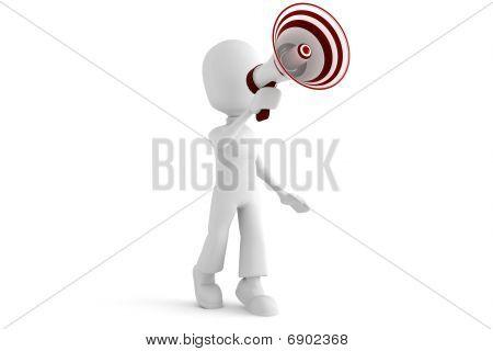 3d man with a big  megaphone
