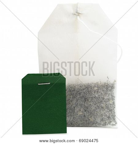 Teabag Macro Closeup, Isolated Large Detailed Green Blank Empty Label Copy Space Black Tea Bag