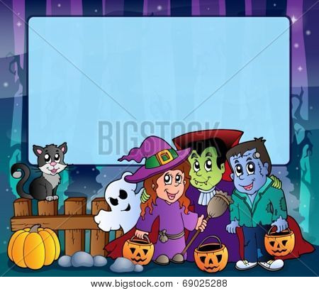 Mysterious forest Halloween frame 9 - eps10 vector illustration.
