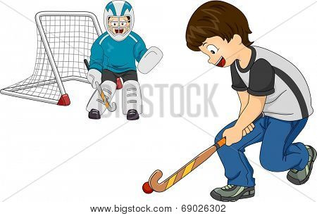 Illustration Featuring Little Boys Playing Indoor Hockey