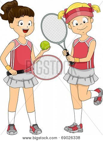 Illustration Featuring a Pair of Girls Preparing to Play Lawn Tennis Doubles