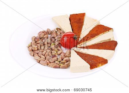 Tofu cheese and pistachios.