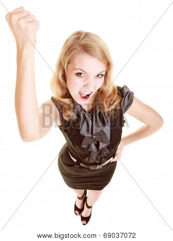 Angry Businesswoman Furious Woman Shaking Fist At You