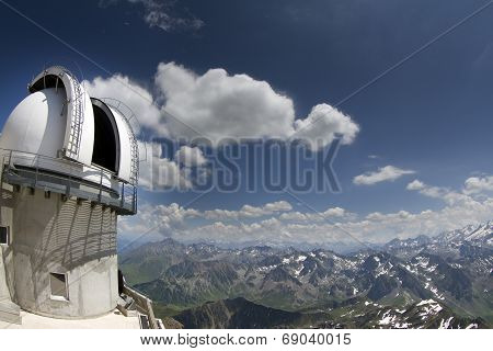 View Of Pyrenees From Pic Du Midi With Observatory