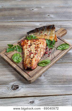 Freshly Smoked Salmon Ready To Eat On Wooden Server