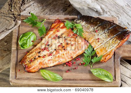 Freshly Smoked Salmon In Natural Wooden Setting