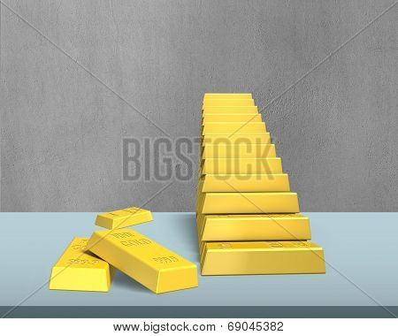 Bullion Stacking In Stairs Shape On Desk