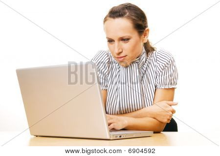 Smiley Woman Using Laptop