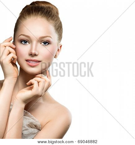 Beauty Model Girl Portrait . Beautiful Woman Face. Looking at Camera. Isolated on White Background. Pretty Girl Touching her Face