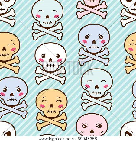 Seamless kawaii cartoon pattern with cute skulls.