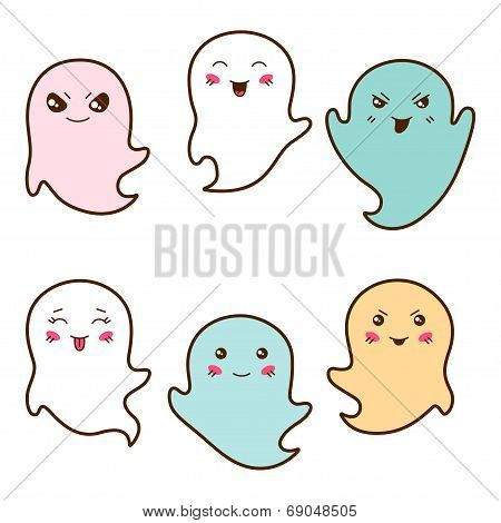 Set of kawaii ghosts with different facial expressions.