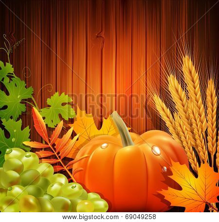 Vector background for Thanksgiving Day with apples, ears of wheat, grapes, apple