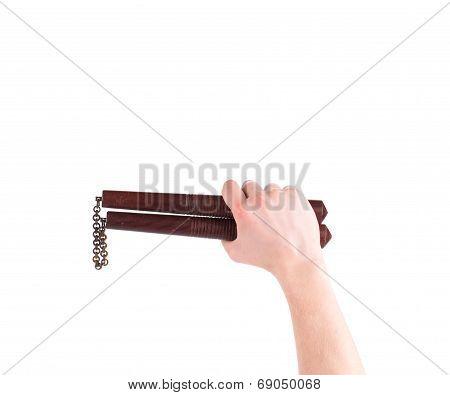Martial arts nunchaku weapon in hand