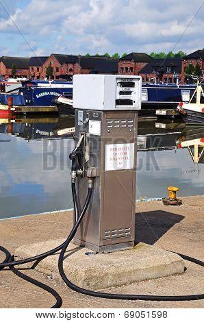 Red diesel dispenser.
