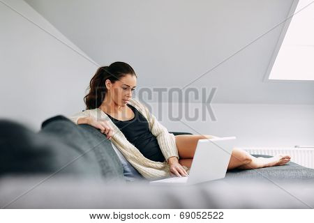 Relaxed Young Woman Working From Home