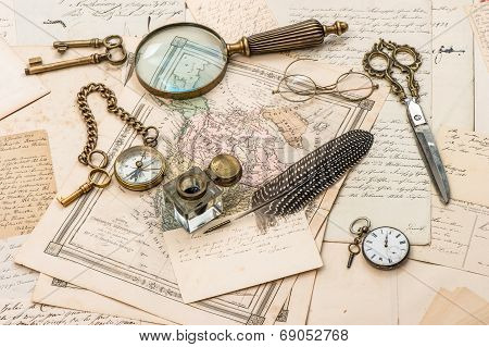 Antique Accessories, Old Letters And Postcards